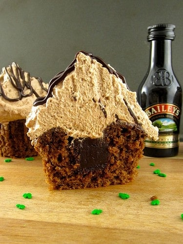 This dessert is made with a cupcake recipe featuring Bailey's Irish Cream. Yum!