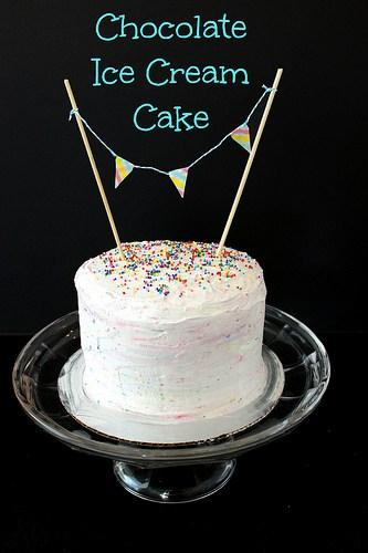 Chocolate Ice Cream Cake With Cake Batter Whipped Cream Beyond