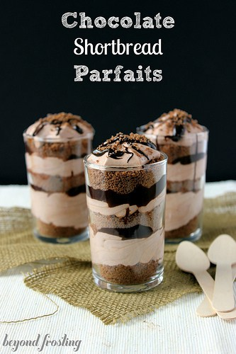 Chocolate Shortbread Parfaits with chocolate mousse and chocolate ganache. http://beyondfrosting.wordpress.com