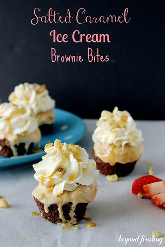 No-Bake Mini Salted Caramel Ice Cream Brownies