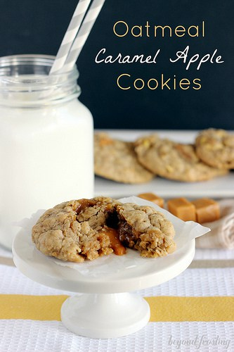 Oatmeal Caramel Apple Cookies | beyondfrosting.com | #caramel #apple #cookies