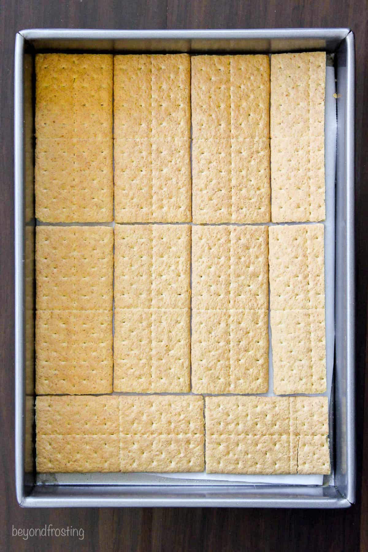 graham crackers layered in baking dish