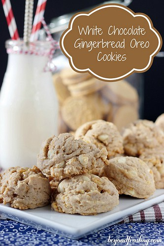 White Chocolate Gingerbread Oreo Cookies | beyondfrosting.com | #gingerbread #oreos #cookies