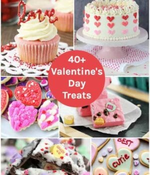 A collage image of Valentine's Day themed desserts