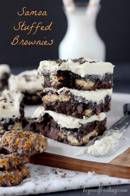 Samoa Stuffed Brownies | beyondfrosting.com | #girlscoutcookies #samoa