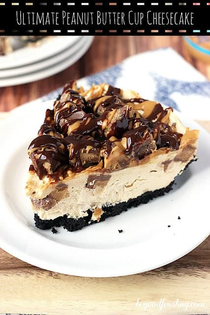 Ultimate No-bake Reese's Peanut Butter Cup Cheesecake. This decadent peanut butter cheesecake is loaded with Reese's Peanut Butter Cups. It is topped with more peanut butter cups and a chocolate and peanut butter drizzle.