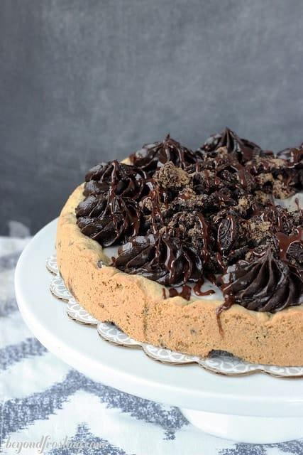 Double Cookies and Cream Cookie Cake   beyondfrosting.com   #Oreos #cookiecake