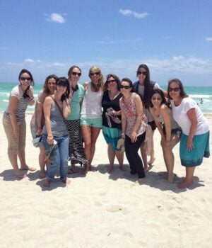 On the beach hanging with some of my favorite blogger ladies!