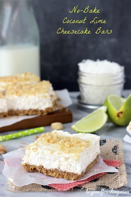 No-Bake Coconut Lime Cheesecake Bars | beyondfrosting.com | #nationalcheesecakeday #coconutlime