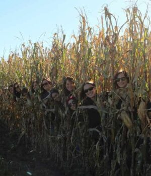 An image of some of my friends and I standing in a corn field.