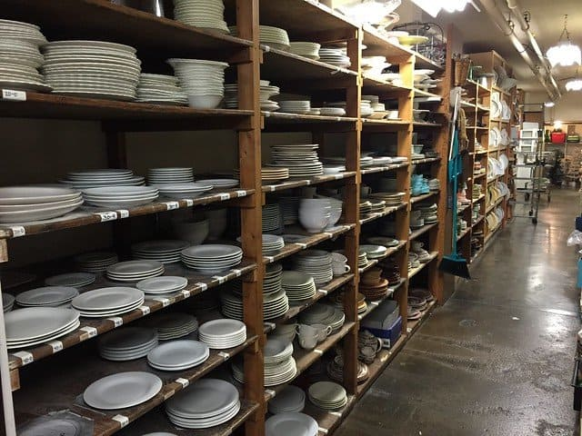 Shelves of dishes for food staging