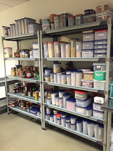 Shelves with containers of food and ingredients