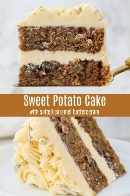 A slice of sweet potato cake on a white plate with 2 forks, and a text overlay