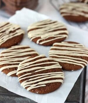 Soft-Baked Molasses Cookies with a Brown Butter Maple Glaze