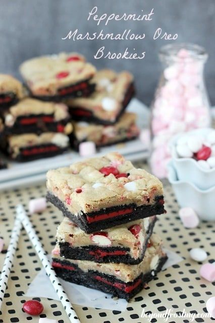 Peppermint Marshmallow Oreo Brookies
