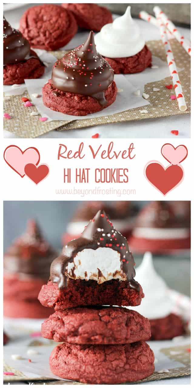 Red Velvet Hi Hat Cookies. Chewy cake mix cookies topped with an airy marshmallow frosting dipped in dark chocolate. www.beyondfrosting.com