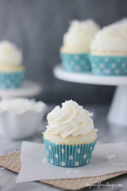 Coconut Cream Pie Cupcake on a napkin