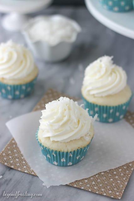 Coconut Cream Pie Cupcakes on a napkin