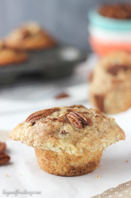 Close-up of a Bakery Style Cinnamon Pecan Muffin on a napkin