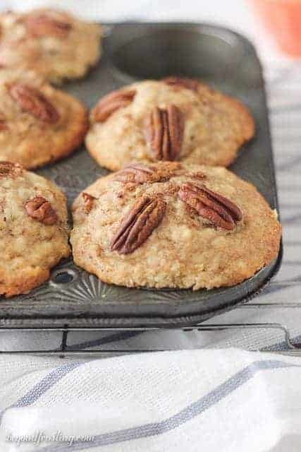 These Bakery Style Cinnamon Pecan Muffins are incredibly moist, full of cinnamon and crunchy pecans.