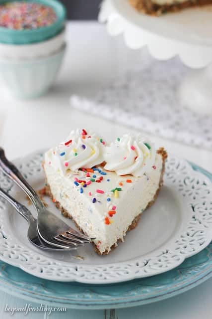 The BEST Funfetti Cookie Dough Ice Cream Pie. There is cookie dough in every bite!