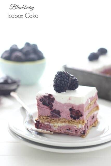Blackberry Ice Box Cake- Fresh blackberry ice cream layered with graham cracker and whipped cream