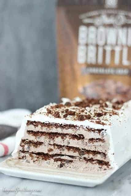 Chocolate lovers, this one is for you! This Brownie Brittle Icebox Cake is made with a no-churn brownie batter ice cream and Chocolate Chip Brownie Brittle. It is covered with a Cool Whip frosting.