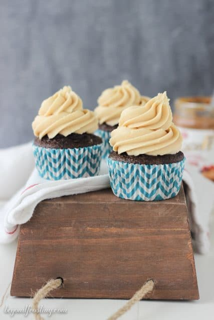 Sink your teeth into these Biscoff Cheesecake Cupcakes! Chocolate cheesecake cupcakes with a Biscoff cream cheese frosting