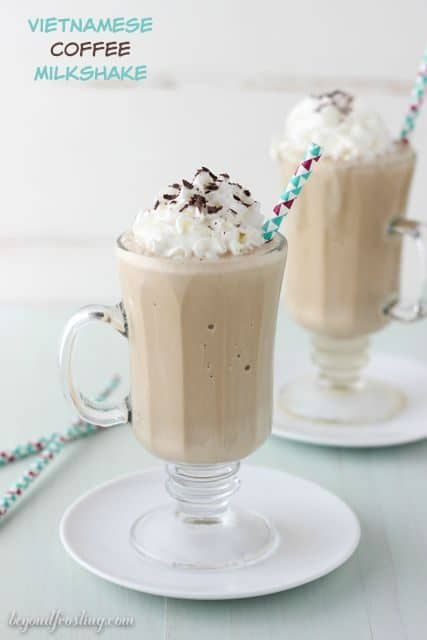 This Vietnamese Coffee Milkshake is a strong brewed coffee milkshake with sweetened condensed milk inspired by Vietnamese style coffee.