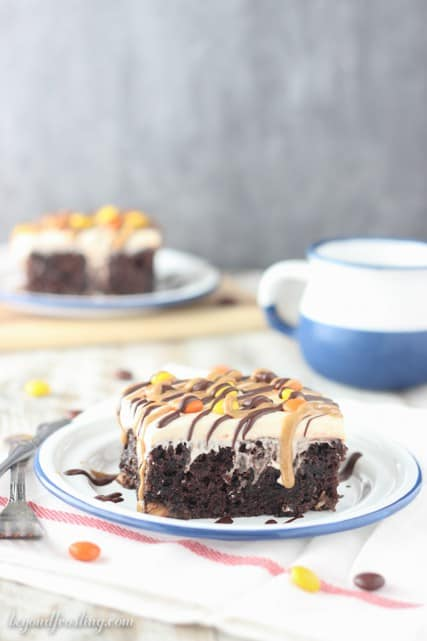 This rich chocolate poke cake is loaded with Reese's, smothered in chocolate pudding and topped with peanut butter whipped cream and drizzled with peanut butter and chocolate.