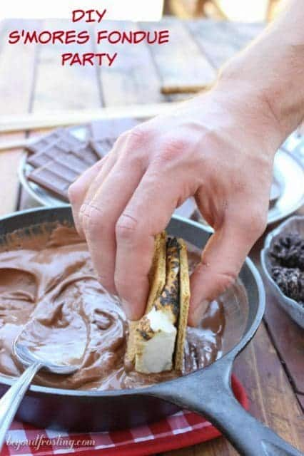 DIY S'mores Fondue Party. You don't need anything fancy to make this happen! Grab your s'mores essentials, some melted chocolate and your favorite toppings for dunking and you've got yourself a party