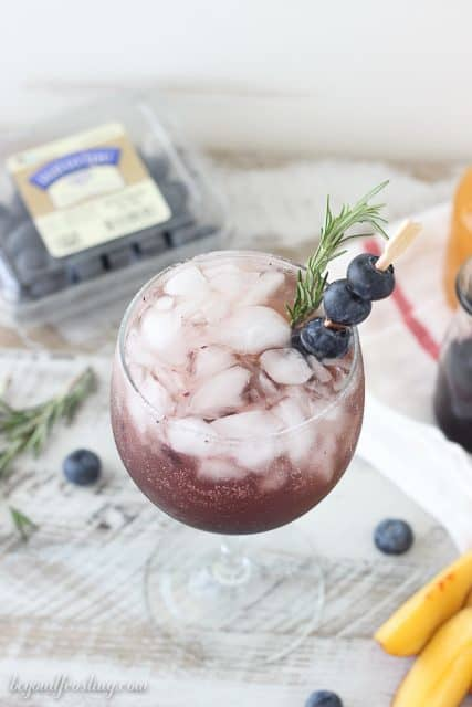 Boozy Peach Blueberry Spritzers.