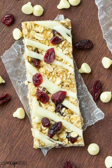 No Bake White Chocolate Cranberry Granola Bars (1 of 6)