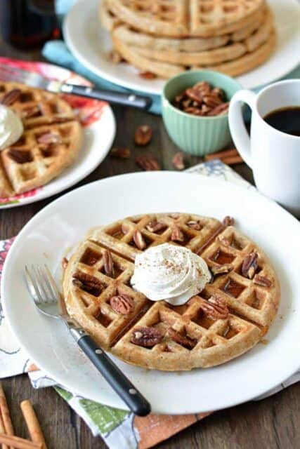 Comforting and cozy Cinnamon Pecan Waffles.