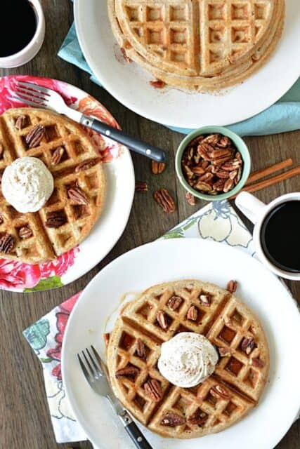 Start your morning off with a stack of this Cinnamon Pecan Waffles. They are perfect for a cozy fall breakfast.