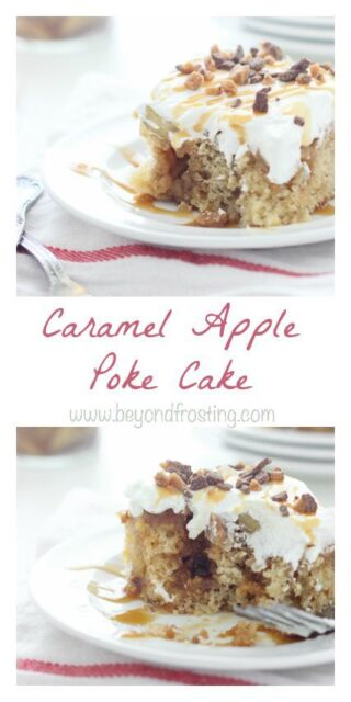 This Caramel Apple Poke Cake is a brown sugar cake with a cinnamon streusel swirl. It is soaked in caramel and topped with apple pie filling and whipped cream.