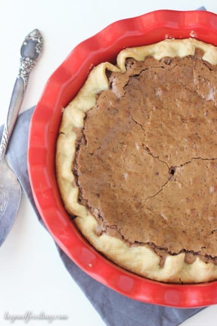 This Espresso Brownie Pie is flaky on the outside and fudgy in the middle.
