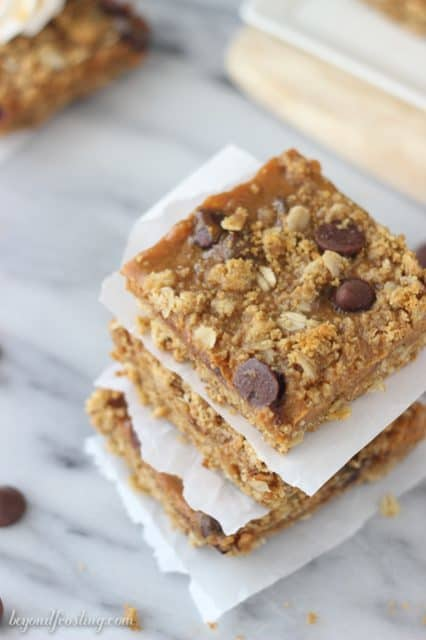 Gooey Caramel Pumpkin Pie Bars with a streusel crust