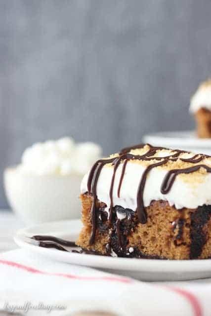 Pumpkin Smores Poke Cake-017