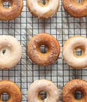 These Apple Cider Donuts are baked to perfection and covered with either cinnamon sugar or a cider glaze.