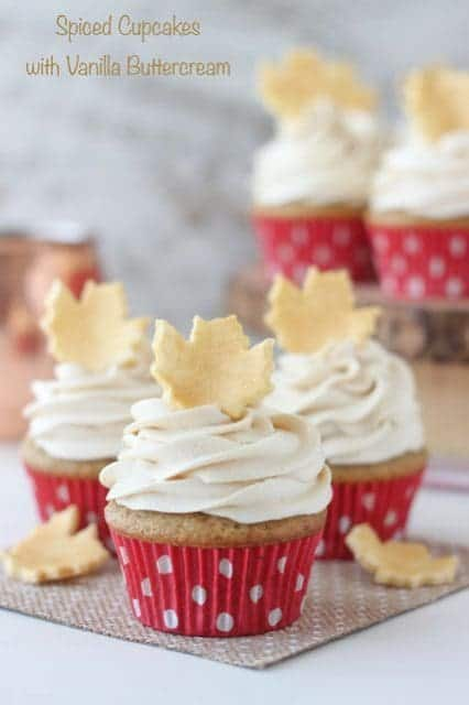 These homemade Spiced Cupcakes with Vanilla Buttercream are the perfect texture and spice for fall.