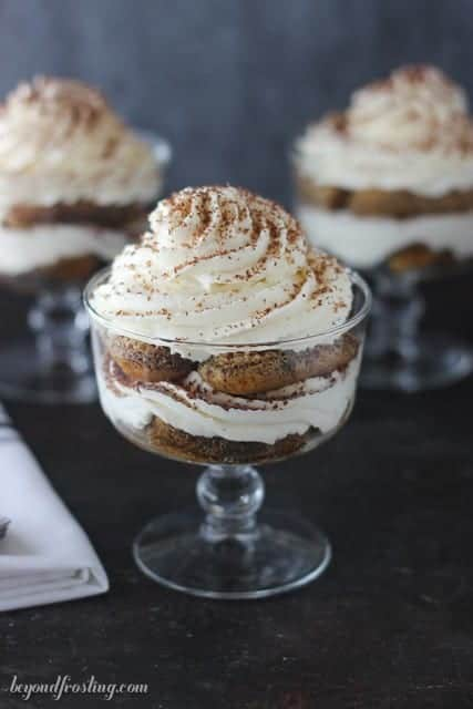 This fall I am craving Maple Bourbon Tiramisu Parfaits. Lady fingers soaked in espresso spiked with bourbon and maple syrup layered with a maple mascarpone mousse.