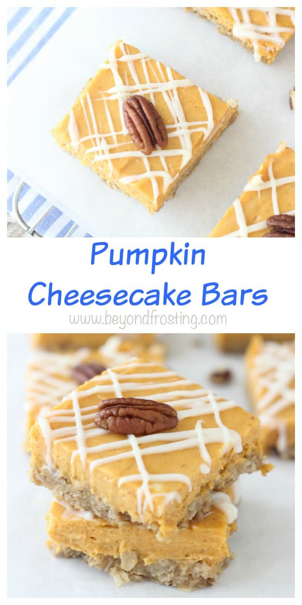 This Pumpkin Cheesecake Bars are the perfect blend of tangy cream cheese and spiced pumpkin filling, baked with an oatmeal crust.