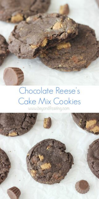 These Reese's Cake Mix Cookie are soft-baked chocolate cake mix cookies are loaded with Reese's Peanut Butter Cups.