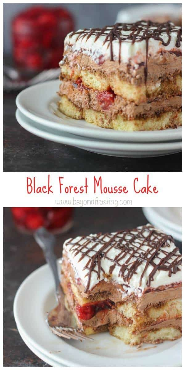 This Black Forest Mousse Cake has layers of espresso-soaked lady fingers, a chocolate mousse, cherry pie filling and a whipped cream topping.