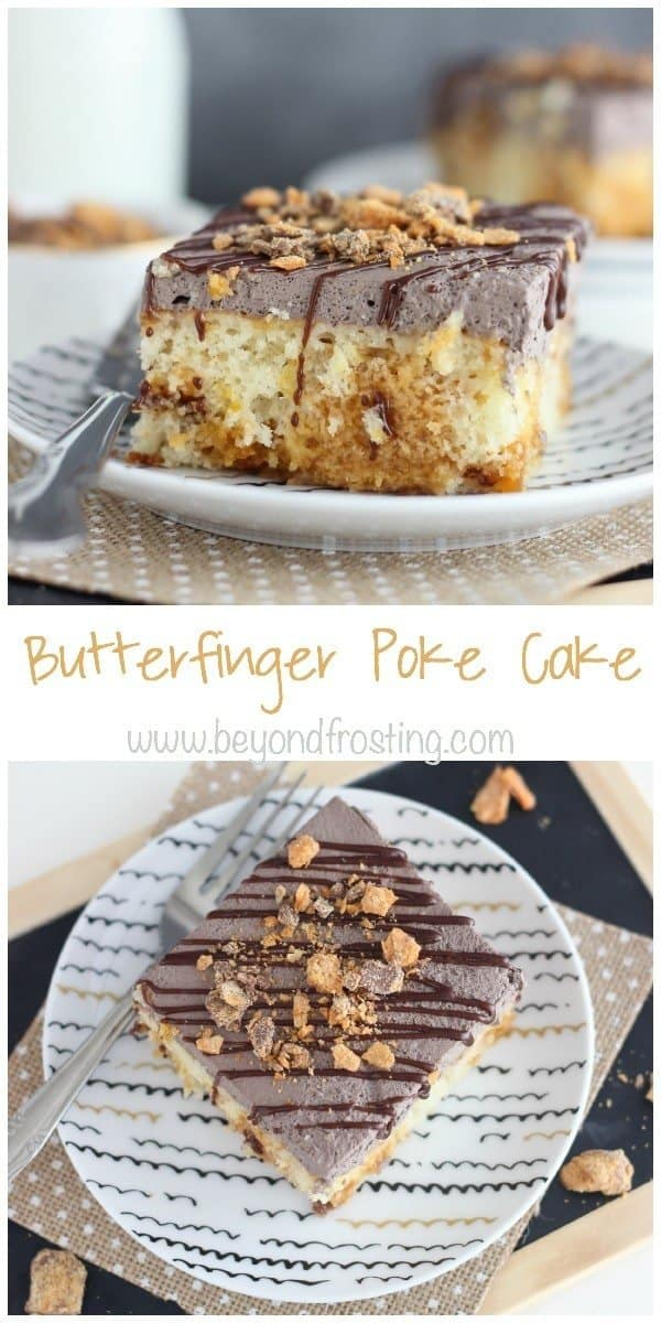 This Butterfinger Poke Cake is a vanilla cake baked with Butterfinger pieces, soaked in a butterscotch pudding and covered with chocolate whipped cream.