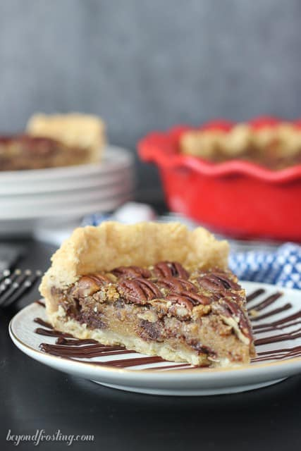 Not your momma's Pecan Pie. This Kahlua Pecan Pie needs to be on your Thanksgiving table. This flaky pie crust is filled with a classic pecan filling spiked with Kahlua. Chocolate chips optional!