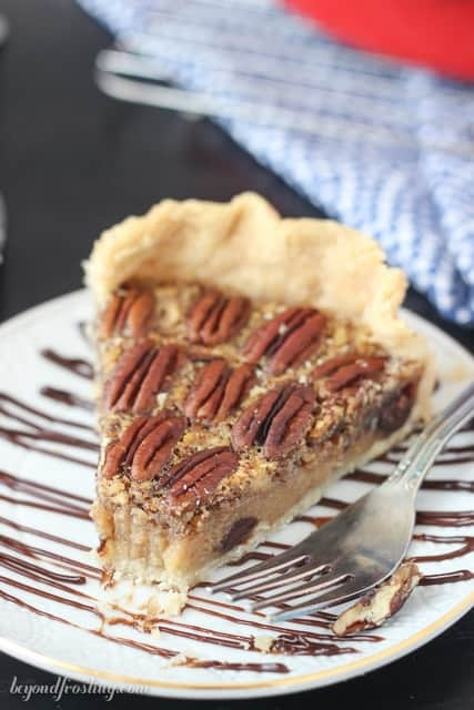 Buttery Kahlua Pecan Pie in a Crisco pie crust.