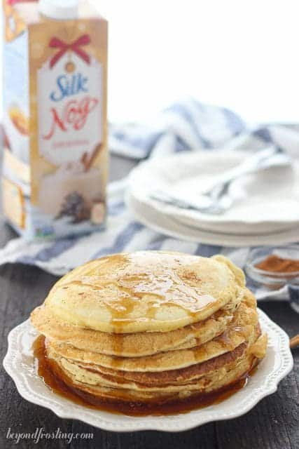 Dairy-Free Eggnog Pancakes with Silk Soy Nog. These are light, fluffy and full of flavor.
