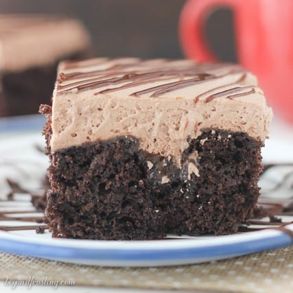 Gooey Hot Chocolate Poke Cake- it's to-die for!